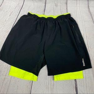 Reebok two in one shorts Sz L